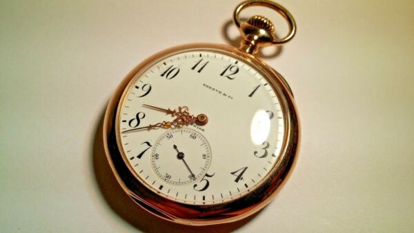 Shreve & Co pocket watch 14K solid gold open face 1.8inches wide Longines Move