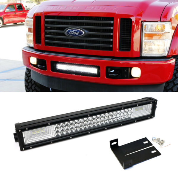 FloodSpot Beam LED Light Bar w Lower Bumper Bracket Wire For 08-10 F250 F350