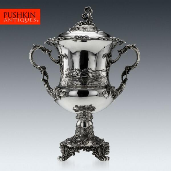 ANTIQUE 19thC VICTORIAN SOLID SILVER MONUMENTAL TROPHY CUP & COVER ANGELL c1848