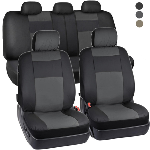 PU Vinyl Leather Car Seat Covers - 9 Pieces Front & Rear Full Interior Set