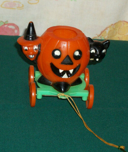 vintage Halloween plastic JOL + WITCH + CAT ON WHEELS #2 candy holder container