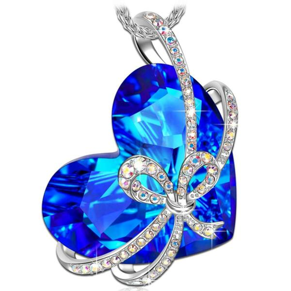 [WOMEN LADY VALENTINE'S DAY BIRTHDAY GIFTS] HEART OF OCEAN WHITE GOLD NECKLACE