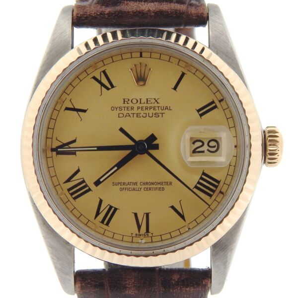 Rolex Datejust Mens 2Tone 14K Gold Stainless Steel Watch Gold & Black Roman Dial