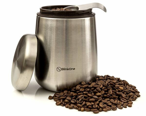 Airtight Coffee Bean Container Storage (18 oz) BlinkOne Coffee Canister NEW