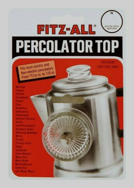 FITZ ALL Glass Replacement Percolator Top Clear Universal Coffee 13 16quot; 1 1 2quot; $6.49