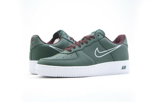 845053-300 Nike Men Air Force 1 Low Retro - Hong Kong Deep Forest White 8-13