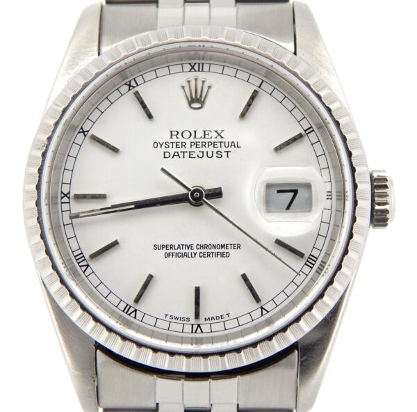 Rolex Datejust Mens Stainless Steel Watch Quickset White Dial Jubilee 16220