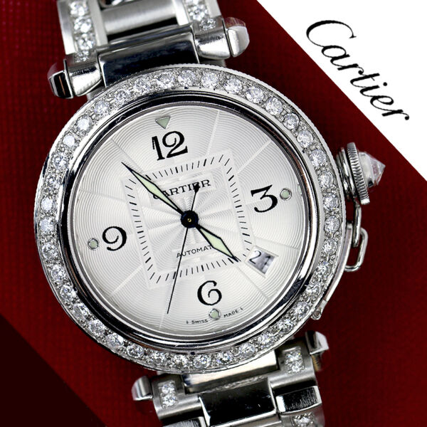Diamond Cartier Pasha Automatic Stainless Steel Watch Complete with Box