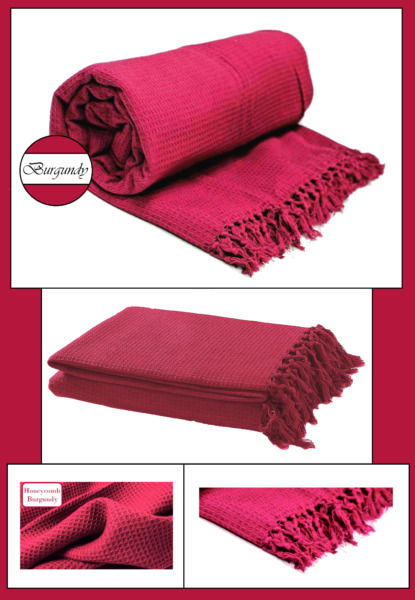 Burgundy Honeycomb Waffle 100% Cotton Sofa Throws Bed Throws in 5 Sizes