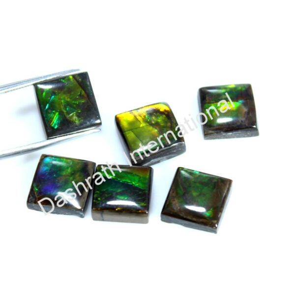 Natural Rare Ammolite Square Cabochon 6 mm To 10 mm Calibrated Loose Gemstone