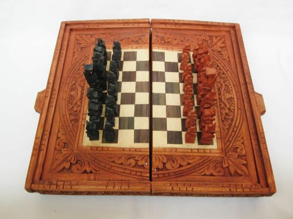 Vintage chess Hand carved  Indonesian box and 32 tribal figures RARE!