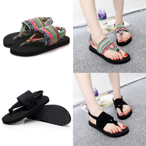 Women Shoes Flip Flops EVA Sole Cloth Belt Summer Bohemian Style Beach Sandals