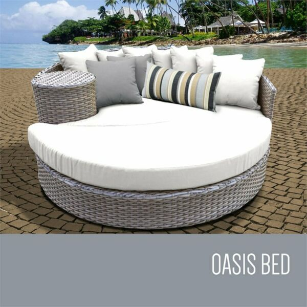 TKC Oasis Round Patio Wicker Daybed in White $1106.68