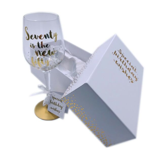 Birthday Wine Glass Gift Premium Engraved Piano Gold Sparkle Gift Boxed 18-70th