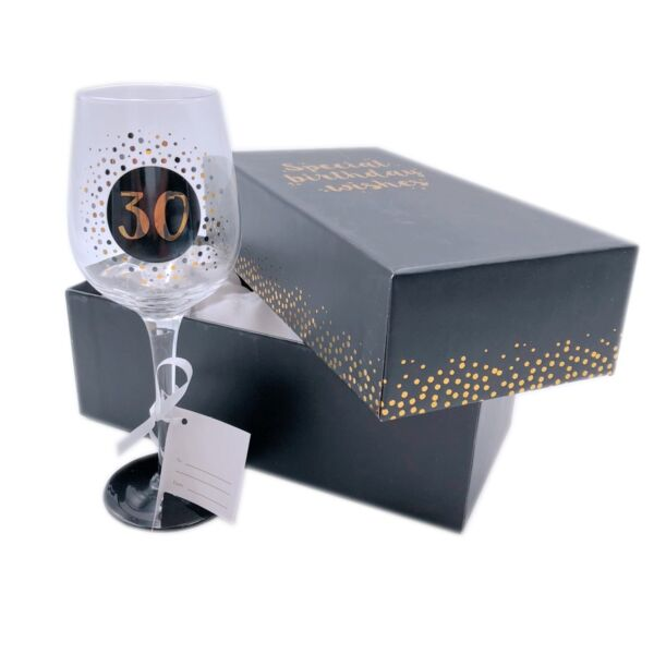 Birthday Wine Glass Gift Premium Engraved Piano Black Sparkle Gift Boxed 18-70th
