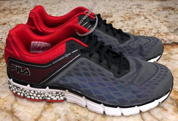 FILA Energized 360 Reflective Grey Black Red Running Shoes Sneakers NEW Mens 9