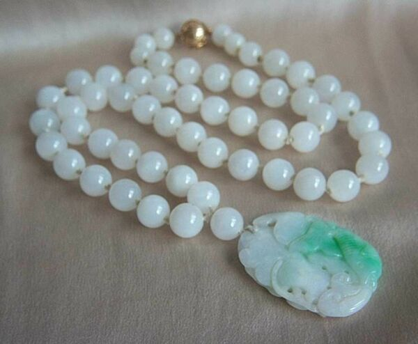 ONE OF A KIND - GUMPS GUMP'S 14K Antique Jade Pendant Necklace in Box A