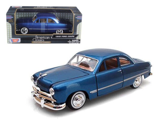 1949 Ford Coupe Die cast Car 1:24 Motormax 8 inch Blue