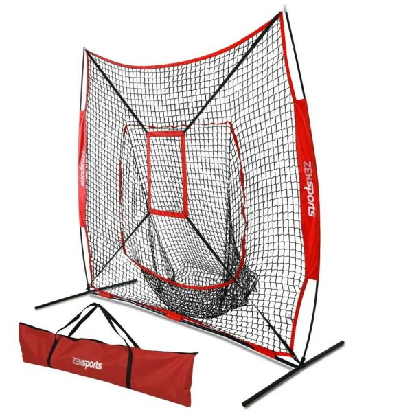 Baseball Practice Net Batting Pitching TeeBall Softball Thrower WStrike Zone