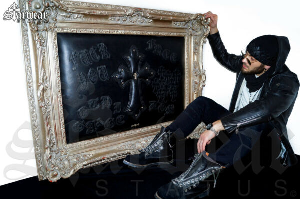 Chrome Hearts x Amal Guessous Leather Artwork Silver Frame Gothic Cross Design