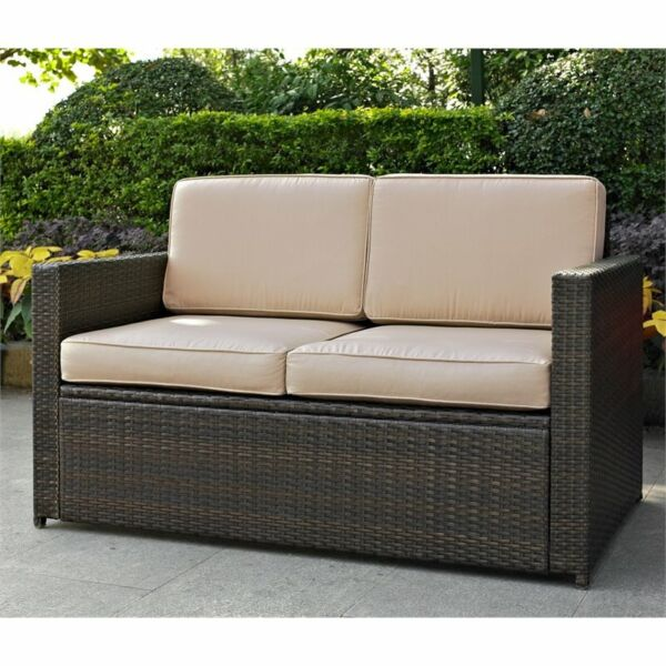 Pemberly Row Wicker Patio Loveseat In Brown with Sand Cushions $411.92