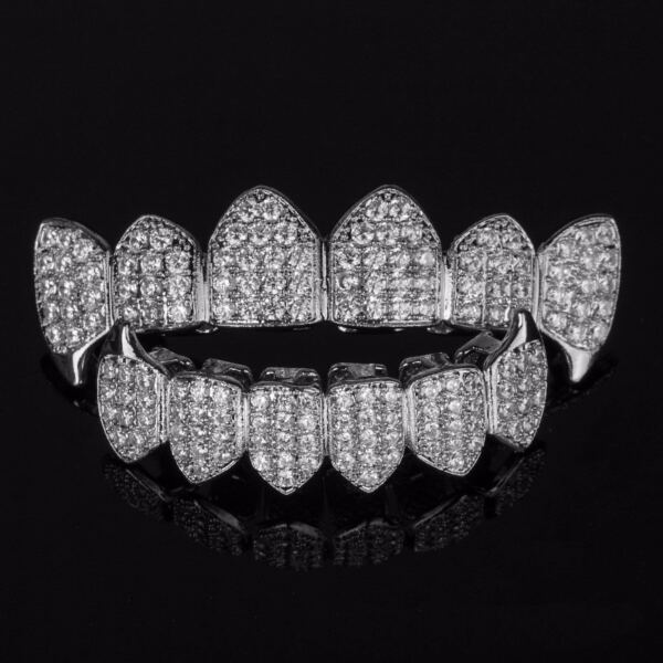 18K White Gold Plated Custom Slugs Fang Top Bottom GRILLZ Teeth Mouth Grills Set