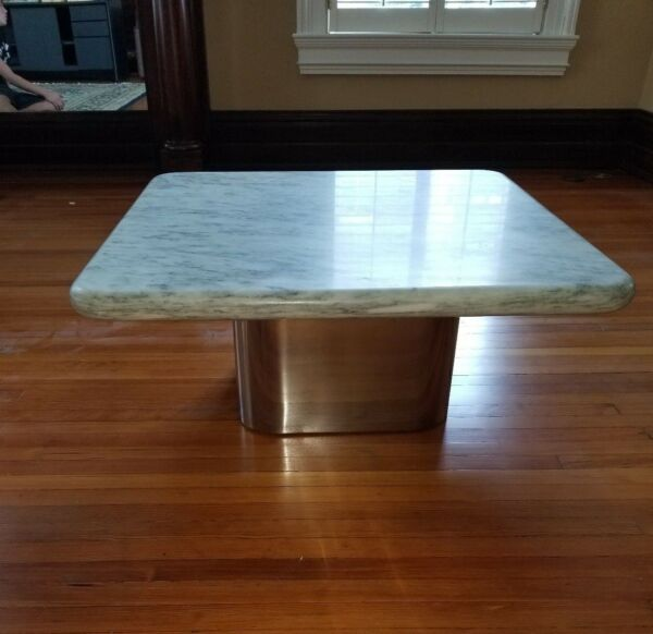Vintage Mid-Century Modern Marble Top Table - Heavy Highest Quality Marble