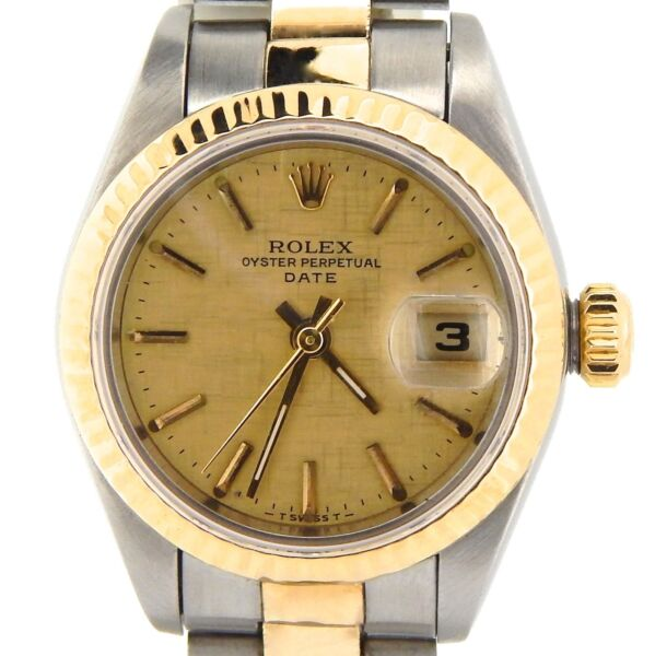 Rolex Date Ladies 2Tone 18K Gold & Stainless Steel Watch Linen Dial Oyster 69173