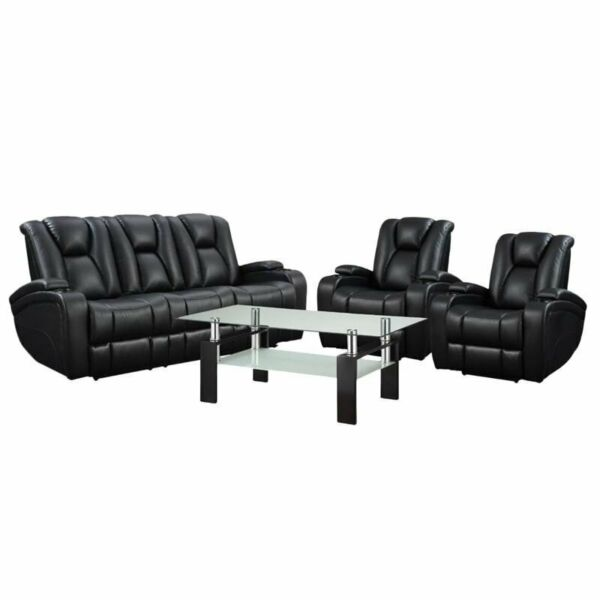 4 Piece Coffee Table and Recliner Sofa Set in Black