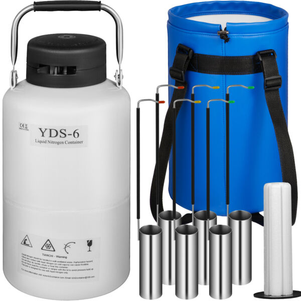 6L Liquid Nitrogen Tank Cryogenic Container LN2 Dewar+6Pcs Pails+Lock Cover!