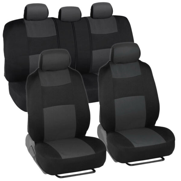 Soft PolyCloth Front amp; Rear Car Seat Cover for Toyota Corolla Charcoal Black $23.99