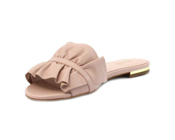 New Michael kors Bella Ruffle Flat Leather Slide Sandal Soft Pink Size 7 8.5
