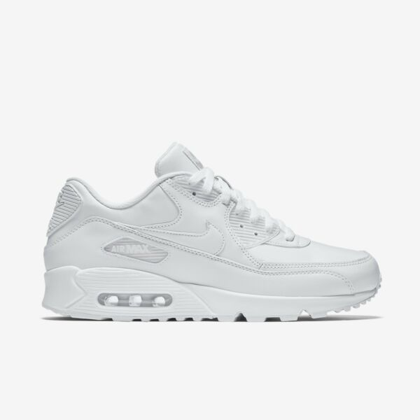 New Men's Nike Air Max 90 Leather Shoes (302519-113)  White // White