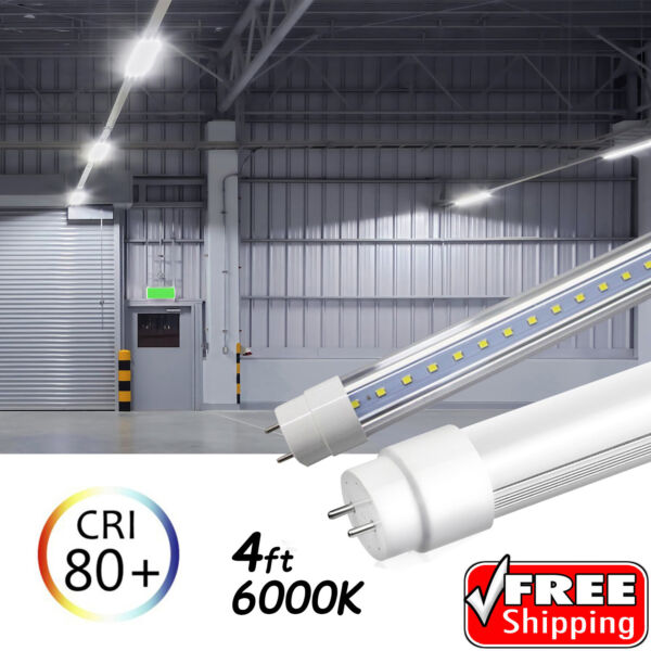 10-100 PACK LED G13 4FT 4 Foot T8 Tube Light Bulbs 18W 6000K CLEAR OR MILKY LENS