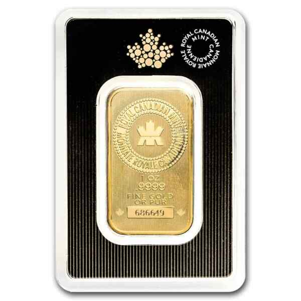 1 oz Gold Bar - Royal Canadian Mint (New Style In Assay)