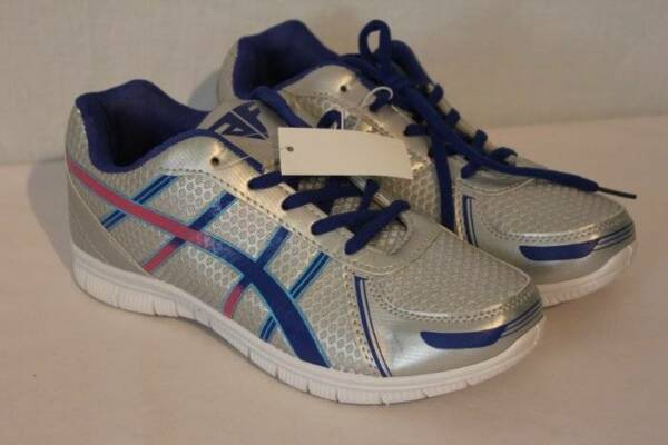 NEW Womens Tennis Shoes Size 6 Silver Blue Athletic Sneakers Walking Running Gym