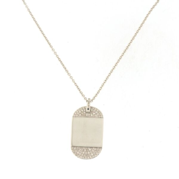 Dog Tag Necklace with .15 CTW Diamonds 18k White Gold