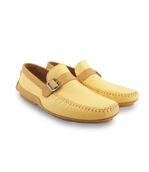 Moreschi Men's Yellow Deer Leather Driver Shoes Moccasins with Calfskin Details