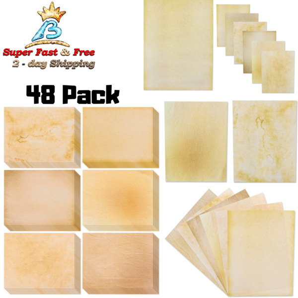 48 Pack Old Fashion Antique Design Double Sided Stationary Paper 8.5quot; X 11quot; New $15.54