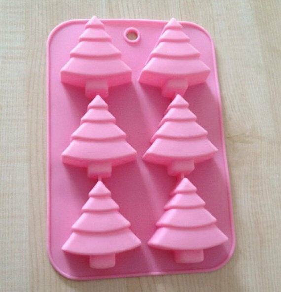 6-Christmas Tree Cake Mold Cookie Mould Flexible Silicone ice lattice Chocolate