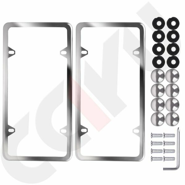 2x Slim Silver Stainless Steel License Plate Plate Frame+a set of Screw Package
