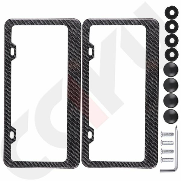 2pcs Carbon Fiber Surface License Plate Tag Snap Fit Frame for Auto-Car-Truck