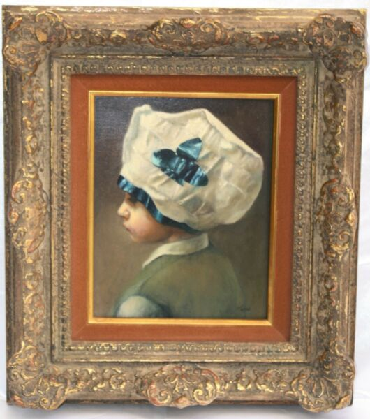 MAGNIFICENT 1900s  OB PAINTING OF A CHILD WITH HAT SIGNED