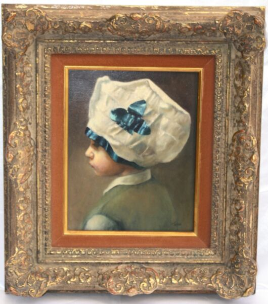 MAGNIFICENT 19C OB PAINTING OF A CHILD WITH HAT SIGNED