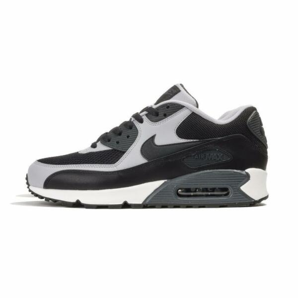 New Men's Nike Air Max 90 Essential Shoes (537384-053) Black/Wolf Grey-Anthracit
