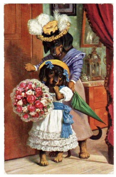 POSTCARD THIELE DOG DACHSHUNDS amp; BOUQUET MOTHER DAUGHTER T.S.N. 1014 $95.00