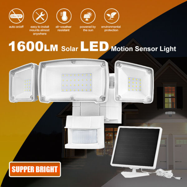 Solar Security Light Outdoor 1600LM Solar LED Motion Sensor 5500K White Light $40.99