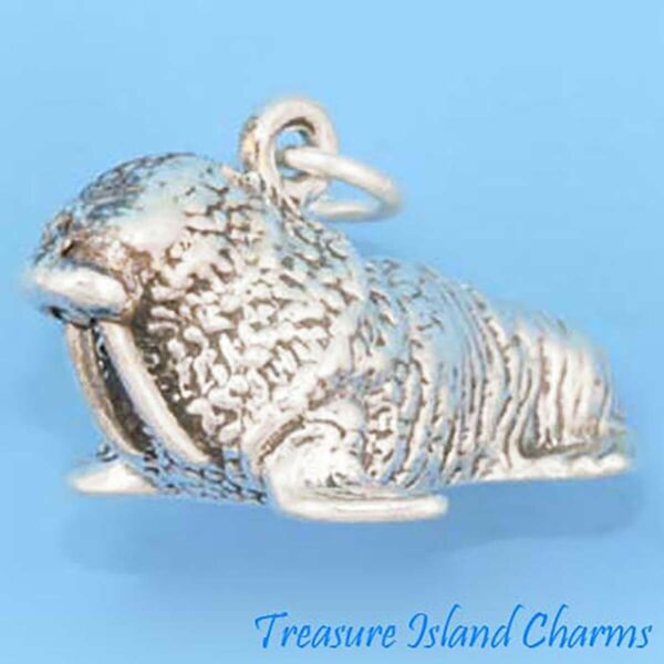 Walrus Heavy Large with Tusks 3D 925 Sterling Silver Charm MADE IN USA $25.95
