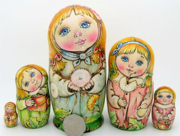 Nesting Russian Dolls Matryoshka Babushka 5 PYROGRAPHY Girls CHMELEVA exclusive