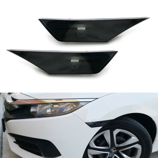 OEM-Replace Black Smoked Front Bumper Side Marker Lens For 2016-up Honda Civic